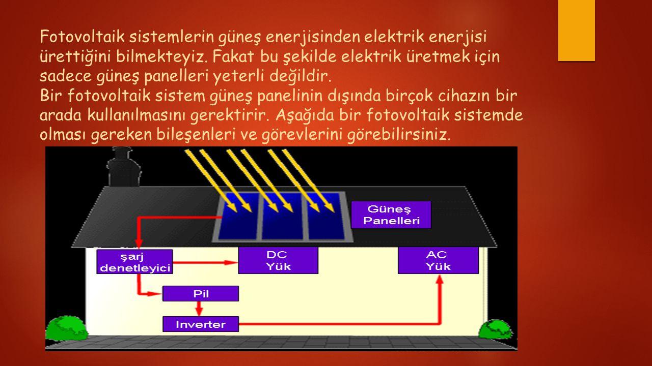 Fotovoltaik sistemlerin güneş enerjisinden elektrik enerjisi ürettiğini bilmekteyiz. Fakat bu şekilde elektrik üretmek için sadece güneş panelleri yet