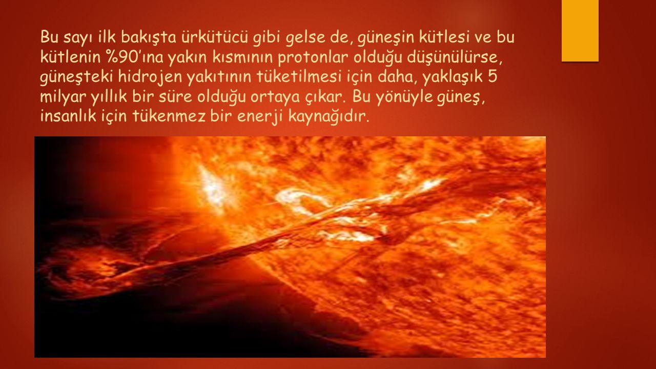 Bu sayı ilk bakışta ürkütücü gibi gelse de, güneşin kütlesi ve bu kütlenin %90'ına yakın kısmının protonlar olduğu düşünülürse, güneşteki hidrojen yakıtının tüketilmesi için daha, yaklaşık 5 milyar yıllık bir süre olduğu ortaya çıkar.