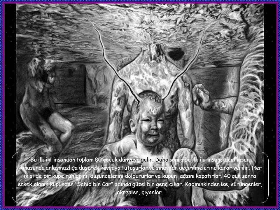 Daha sonra Melek Tavus yarattığı bu iki insanı takdim etmek üzere Azda'nın yanına gider ve Azda, Melek Tavus'a