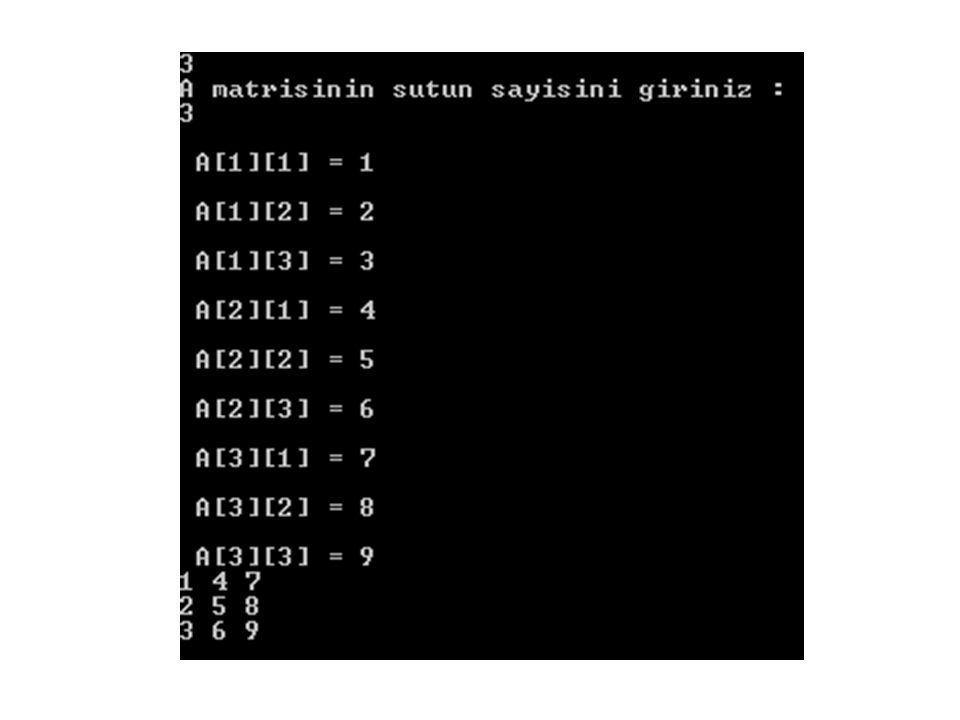 ÖRNEK 2 devamı Matris sınıfına çarpma metodu eklenecek – Kullanıcıdan matris satır ve sütun değerleri alınacak(kare matris) – Çarpma işlemi yapılıp matris formatında ekrana yazdırılacak