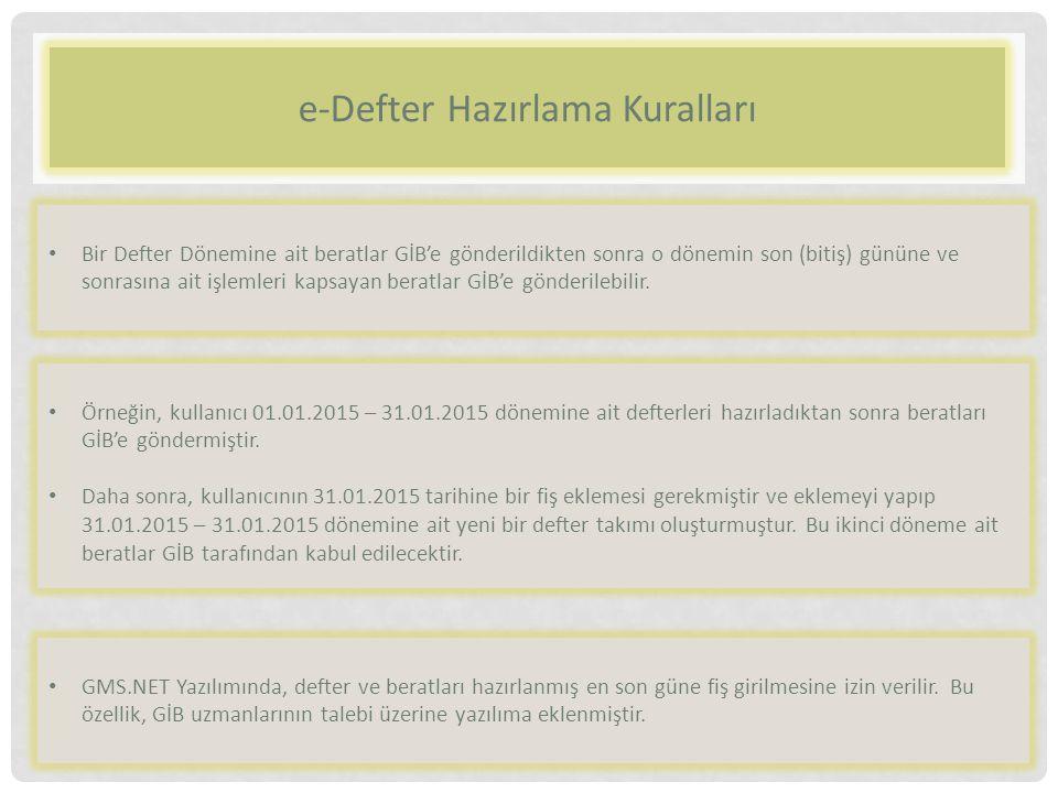 e-Defter Hazırlama Kuralları Bir Defter Dönemine ait beratlar GİB'e gönderildikten sonra o dönemin son (bitiş) gününe ve sonrasına ait işlemleri kapsa