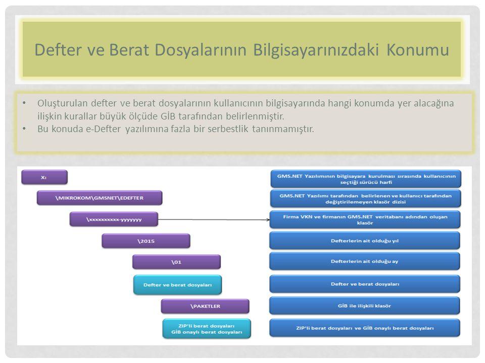Defter ve Berat Dosyalarının Bilgisayarınızdaki Konumu Oluşturulan defter ve berat dosyalarının kullanıcının bilgisayarında hangi konumda yer alacağına ilişkin kurallar büyük ölçüde GİB tarafından belirlenmiştir.
