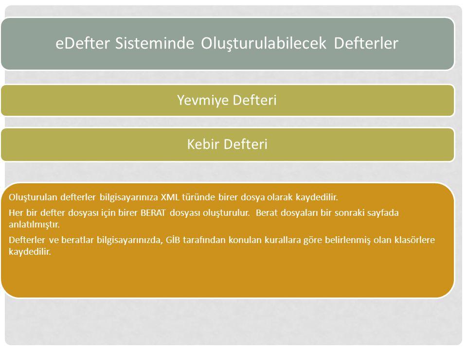 eDefter Sisteminde Oluşturulabilecek Defterler Yevmiye Defteri Kebir Defteri Oluşturulan defterler bilgisayarınıza XML türünde birer dosya olarak kaydedilir.
