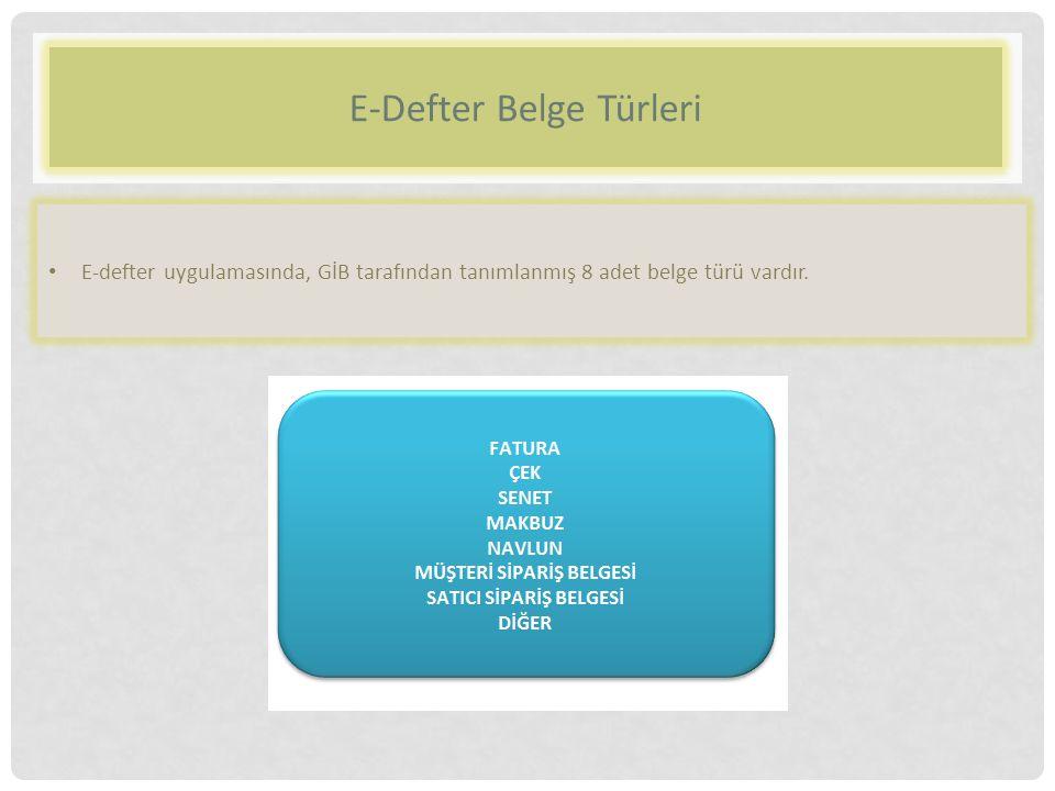 E-Defter Belge Türleri E-defter uygulamasında, GİB tarafından tanımlanmış 8 adet belge türü vardır.
