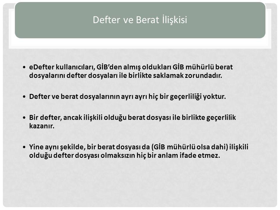 Defter ve Berat İlişkisi eDefter kullanıcıları, GİB'den almış oldukları GİB mühürlü berat dosyalarını defter dosyaları ile birlikte saklamak zorundadır.
