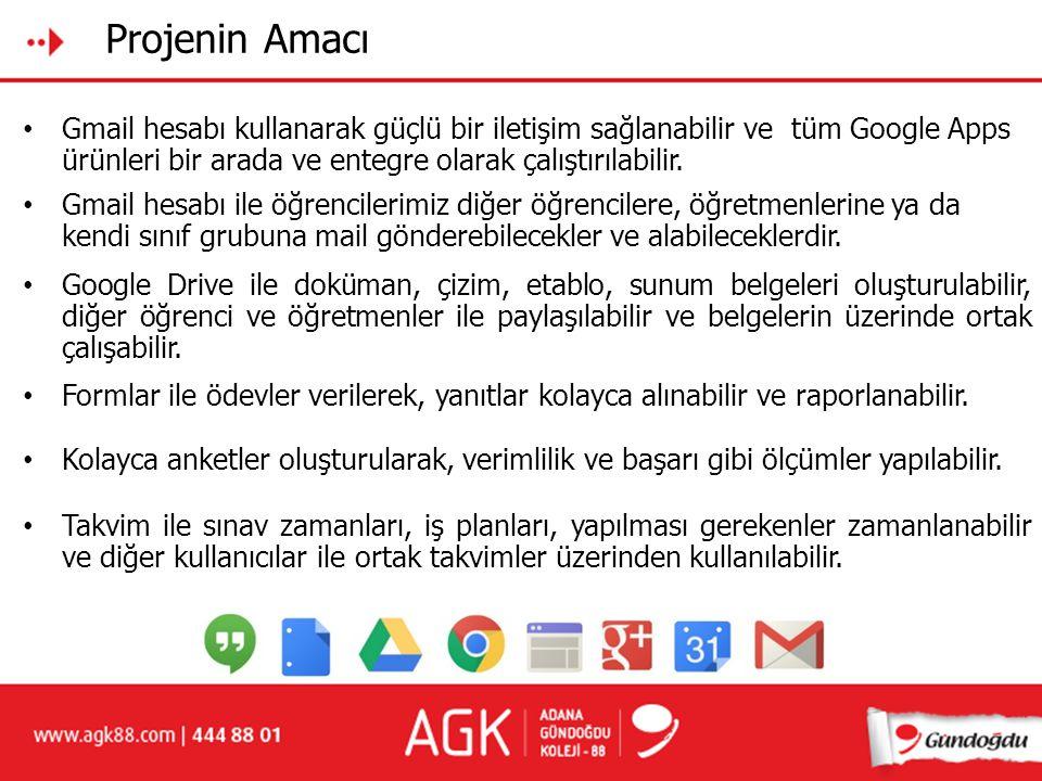 Projenin Amacı Gmail hesabı kullanarak güçlü bir iletişim sağlanabilir ve tüm Google Apps ürünleri bir arada ve entegre olarak çalıştırılabilir. Googl
