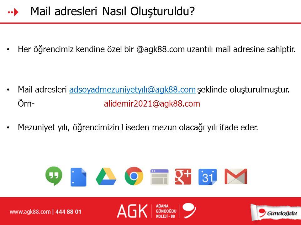 Mail adresleri Nasıl Oluşturuldu? Her öğrencimiz kendine özel bir @agk88.com uzantılı mail adresine sahiptir. Örn- Mezuniyet yılı, öğrencimizin Lisede