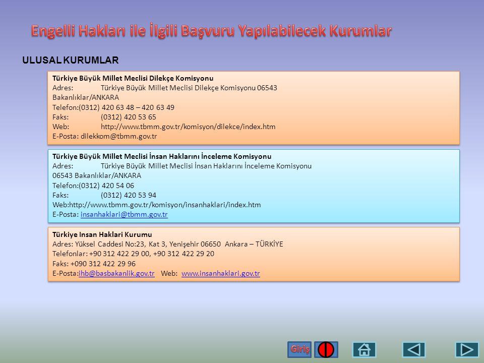 ULUSAL KURUMLAR Başbakanlık İletişim Merkezi Adres: Başbakanlık Halkla İlişkiler Daire Başkanlığı Merkez Bina B.Blok P.K.:06640 Kızılay / Ankara Tel: