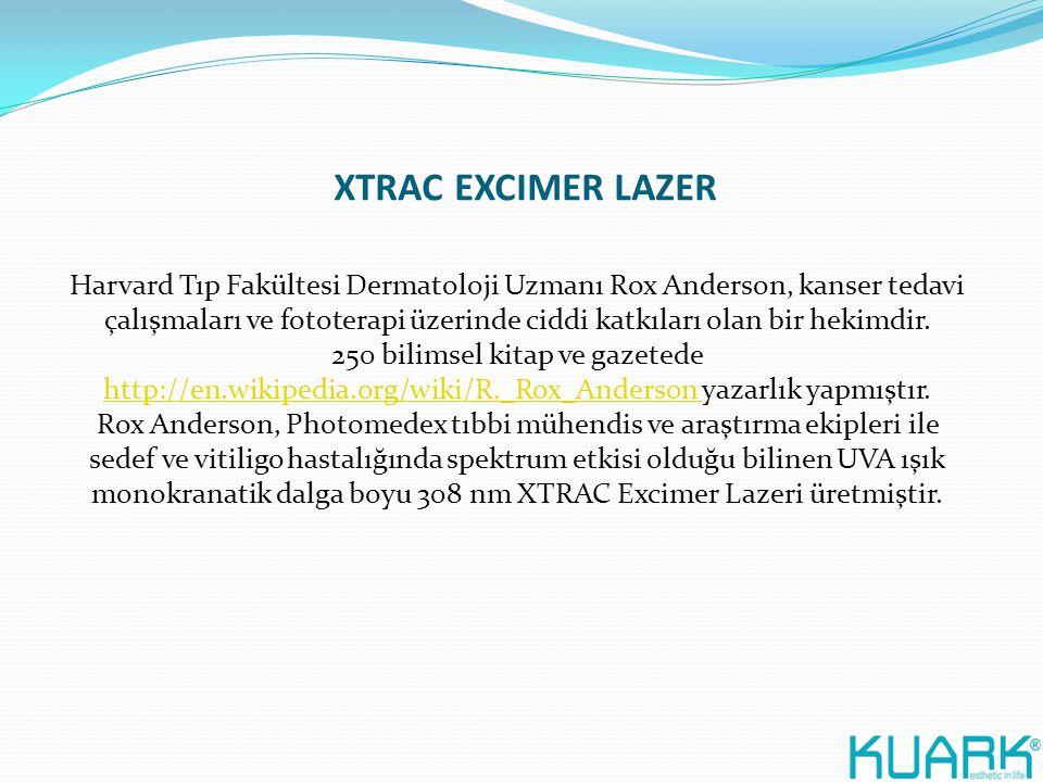 XTRAC EXCIMER LAZER Harvard Tıp Fakültesi Dermatoloji Uzmanı Rox Anderson, kanser tedavi çalışmaları ve fototerapi üzerinde ciddi katkıları olan bir h