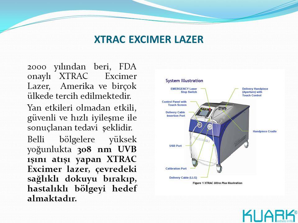 XTRAC EXCIMER LAZER 2000 yılından beri, FDA onaylı XTRAC Excimer Lazer, Amerika ve birçok ülkede tercih edilmektedir. Yan etkileri olmadan etkili, güv