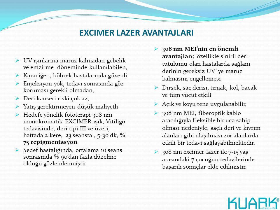 EXCIMER LAZER AVANTAJLARI  UV ışınlarına maruz kalmadan gebelik ve emzirme döneminde kullanılabilen,  Karaciğer, böbrek hastalarında güvenli  Enjek