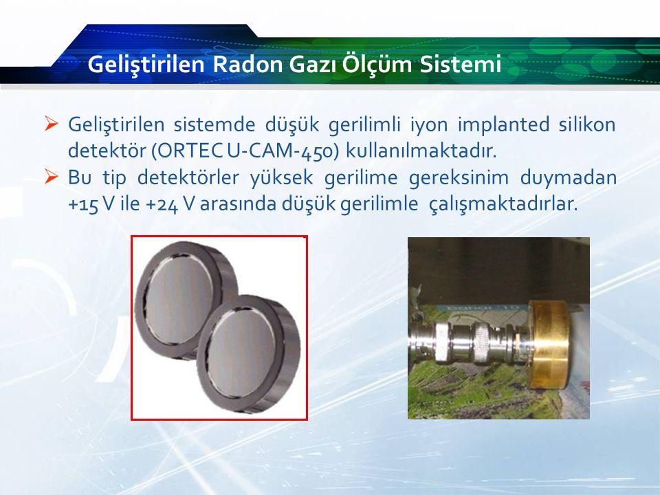 Geliştirilen sistemde düşük gerilimli iyon implanted silikon detektör (ORTEC U-CAM-450) kullanılmaktadır.
