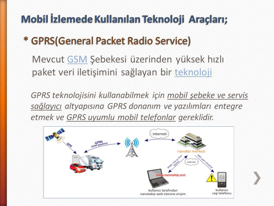 Mevcut GSM Şebekesi üzerinden yüksek hızlı paket veri iletişimini sağlayan bir teknolojiGSMteknoloji GPRS teknolojisini kullanabilmek için mobil şebek