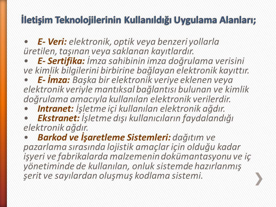 E- Veri: elektronik, optik veya benzeri yollarla üretilen, taşınan veya saklanan kayıtlardır. E- Sertifika: İmza sahibinin imza doğrulama verisini ve