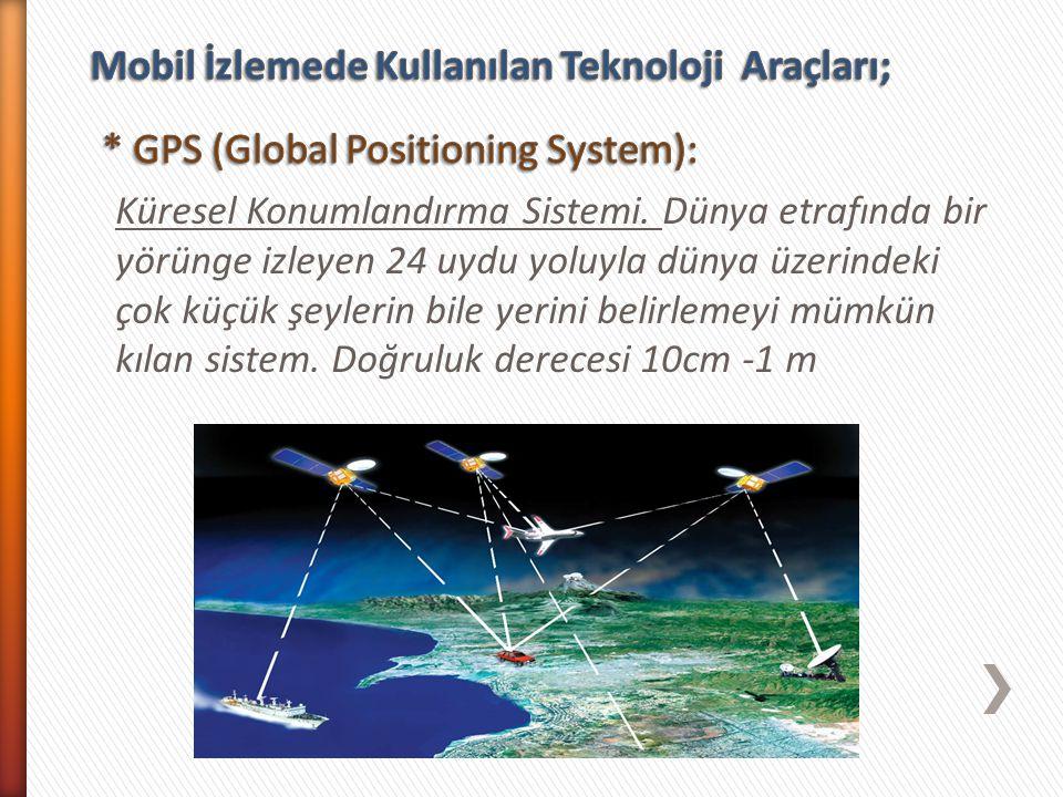 Küresel Konumlandırma Sistemi. Dünya etrafında bir yörünge izleyen 24 uydu yoluyla dünya üzerindeki çok küçük şeylerin bile yerini belirlemeyi mümkün
