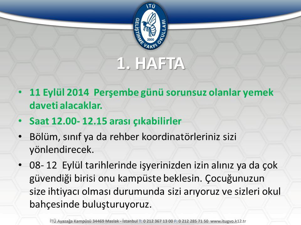 1. HAFTA 11 Eylül 2014 Perşembe günü sorunsuz olanlar yemek daveti alacaklar. Saat 12.00- 12.15 arası çıkabilirler Bölüm, sınıf ya da rehber koordinat