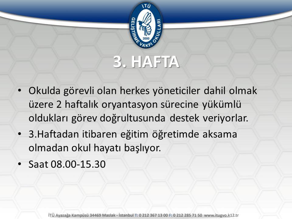3. HAFTA Okulda görevli olan herkes yöneticiler dahil olmak üzere 2 haftalık oryantasyon sürecine yükümlü oldukları görev doğrultusunda destek veriyor