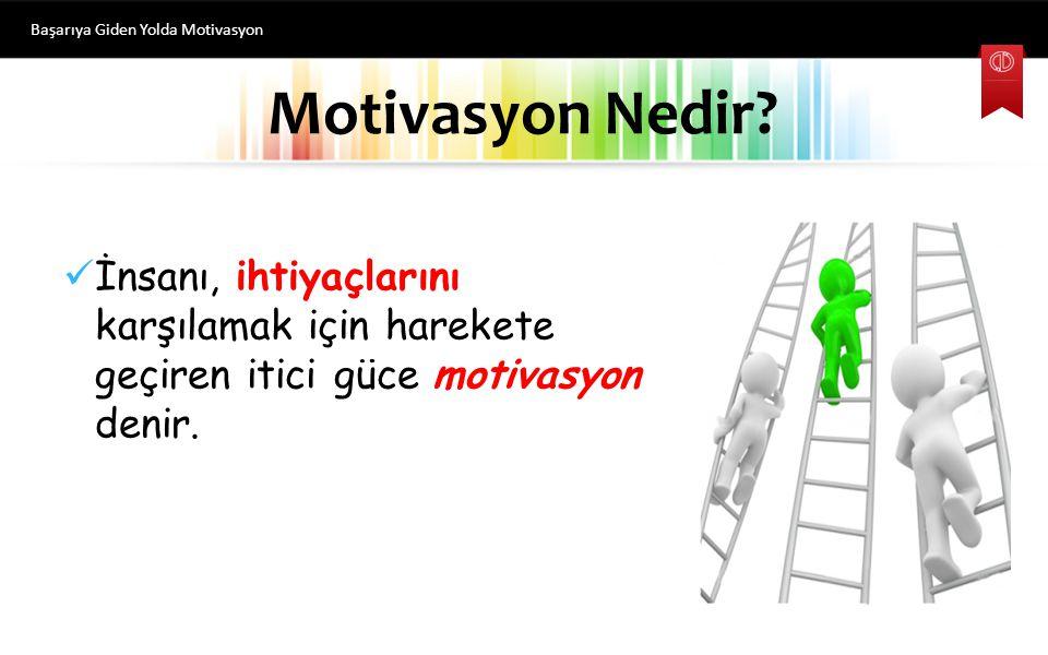 İnsanı, ihtiyaçlarını karşılamak için harekete geçiren itici güce motivasyon denir.