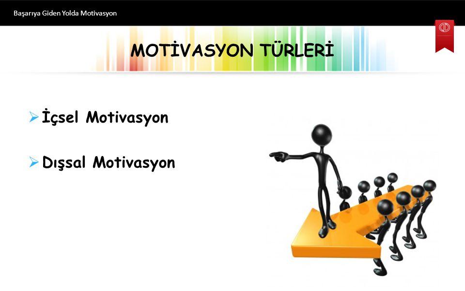 MOTİVASYON TÜRLERİ Başarıya Giden Yolda Motivasyon  İçsel Motivasyon  Dışsal Motivasyon