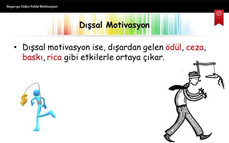 Dışsal Motivasyon Dışsal motivasyon ise, dışardan gelen ödül, ceza, baskı, rica gibi etkilerle ortaya çıkar.