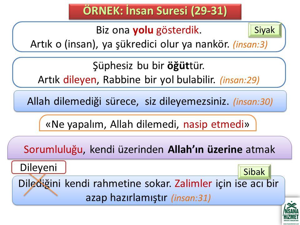 «Ne yapalım, Allah dilemedi, nasip etmedi» Sorumluluğu, kendi üzerinden Allah'ın üzerine atmak ÖRNEK: İnsan Suresi (29-31) Biz ona yolu gösterdik.