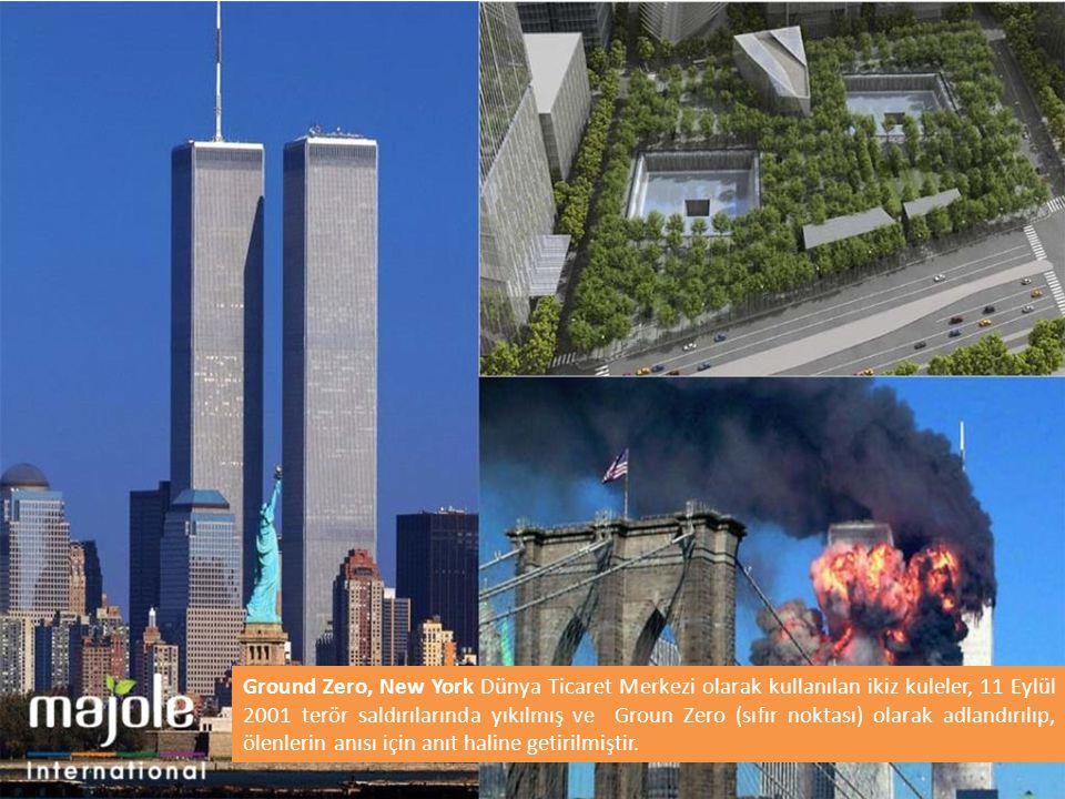 Ground Zero, New York Dünya Ticaret Merkezi olarak kullanılan ikiz kuleler, 11 Eylül 2001 terör saldırılarında yıkılmış ve Groun Zero (sıfır noktası)