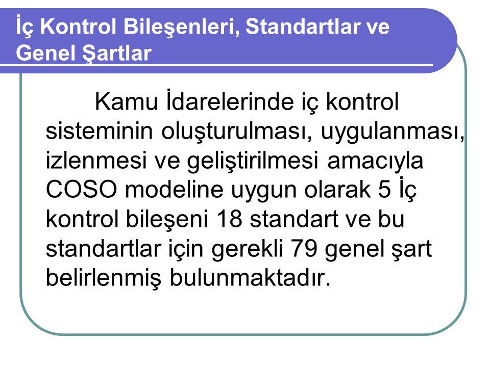 5 İç Kontrol Bileşenleri ve Standartlar 1.Kontrol Ortamı Standartları 2.