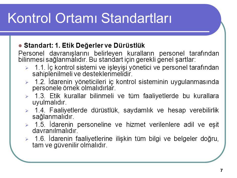 8 Kontrol Ortamı Standartları Kontrol Ortamının Temel Unsurları Kontrol ortamının temel unsuru kurum ve insan dır.