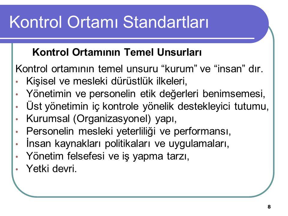 9 Kontrol Ortamı Standartları Etik Kavramı Etik, çeşitli mesleklerin yürütülmesinde uyulması veya kaçınılması gereken davranışlar bütünü olarak tanımlanmaktadır.