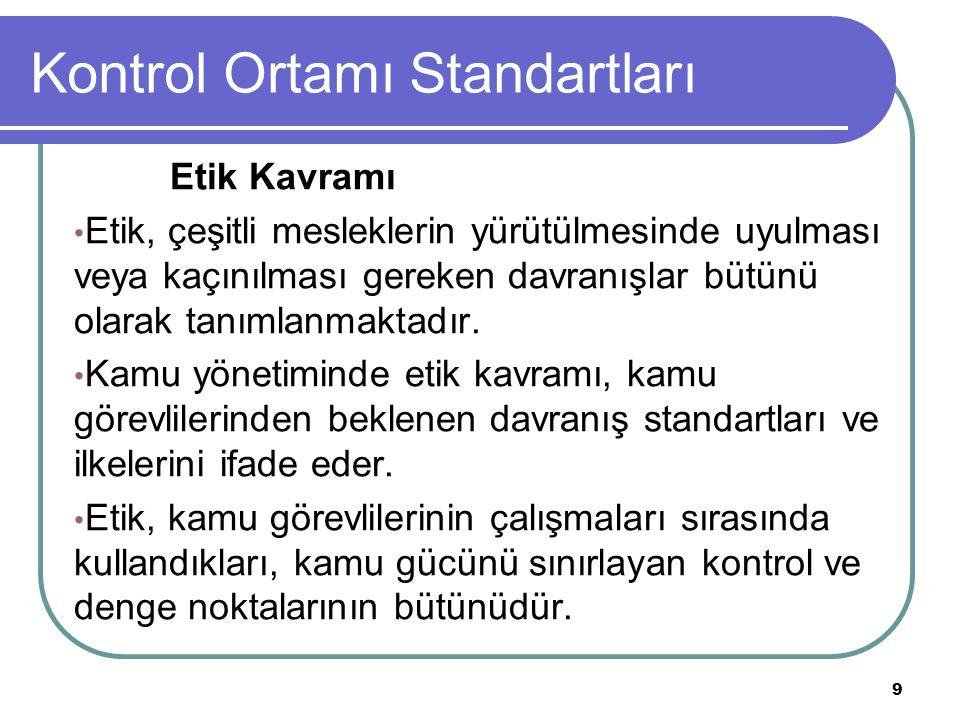 10 Kontrol Ortamı Standartları Etik Davranış İlkeleri (Kamu İç Kontrol Rehberi) -Mal bildiriminde bulunma, -Bilgi verme, saydamlık ve katılımcılık, -Yöneticilerin hesap verme sorumluluğu, -Bağlayıcı açıklamalar ve gerçek dışı beyan, -Savurganlıktan kaçınma, -Kamu malları ve kaynaklarının Kullanımı, -Hediye alma ve menfaat sağlama yasağı, -Görev ve yetkilerin menfaat sağlamak amacıyla kullanılmaması,