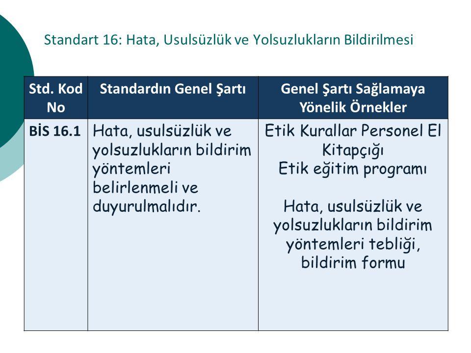 Standart 16: Hata, Usulsüzlük ve Yolsuzlukların Bildirilmesi Std.