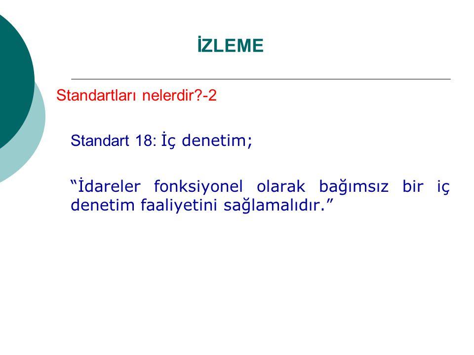İZLEME Standartları nelerdir?-2 Standart 18: İç denetim; İdareler fonksiyonel olarak bağımsız bir iç denetim faaliyetini sağlamalıdır.