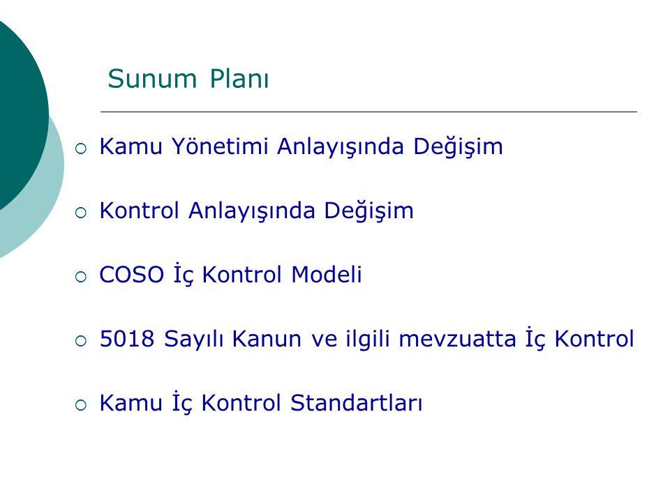 Sunum Planı  Kamu Yönetimi Anlayışında Değişim  Kontrol Anlayışında Değişim  COSO İç Kontrol Modeli  5018 Sayılı Kanun ve ilgili mevzuatta İç Kontrol  Kamu İç Kontrol Standartları