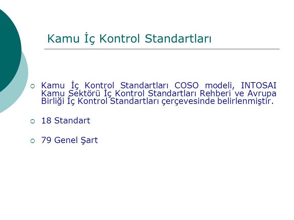 Kamu İç Kontrol Standartları  Kamu İç Kontrol Standartları COSO modeli, INTOSAI Kamu Sektörü İç Kontrol Standartları Rehberi ve Avrupa Birliği İç Kon