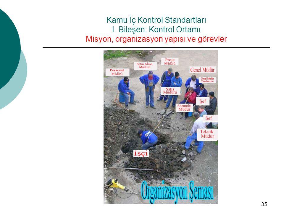 Kamu İç Kontrol Standartları I. Bileşen: Kontrol Ortamı Misyon, organizasyon yapısı ve görevler 35
