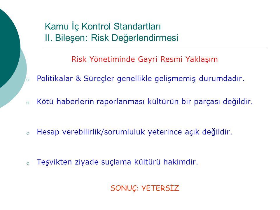 Kamu İç Kontrol Standartları II. Bileşen: Risk Değerlendirmesi Risk Yönetiminde Gayri Resmi Yaklaşım o Politikalar & Süreçler genellikle gelişmemiş du