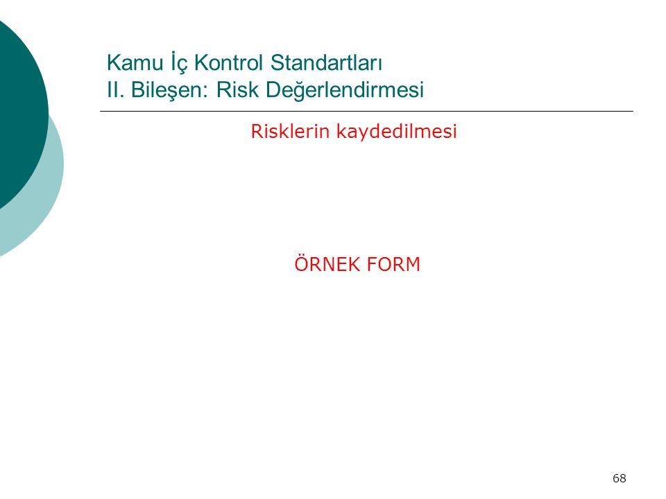 Kamu İç Kontrol Standartları II. Bileşen: Risk Değerlendirmesi Risklerin kaydedilmesi ÖRNEK FORM 68