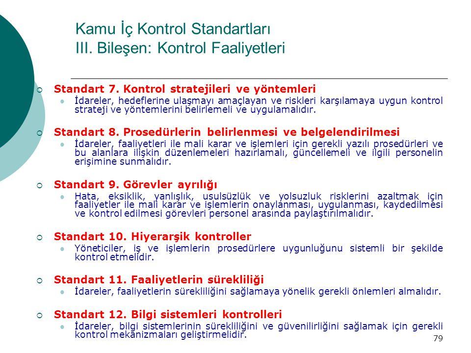 Kamu İç Kontrol Standartları III. Bileşen: Kontrol Faaliyetleri  Standart 7. Kontrol stratejileri ve yöntemleri İdareler, hedeflerine ulaşmayı amaçla