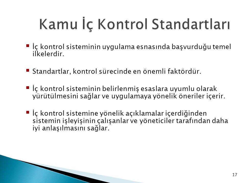 17 Kamu İç Kontrol Standartları  İç kontrol sisteminin uygulama esnasında başvurduğu temel ilkelerdir.