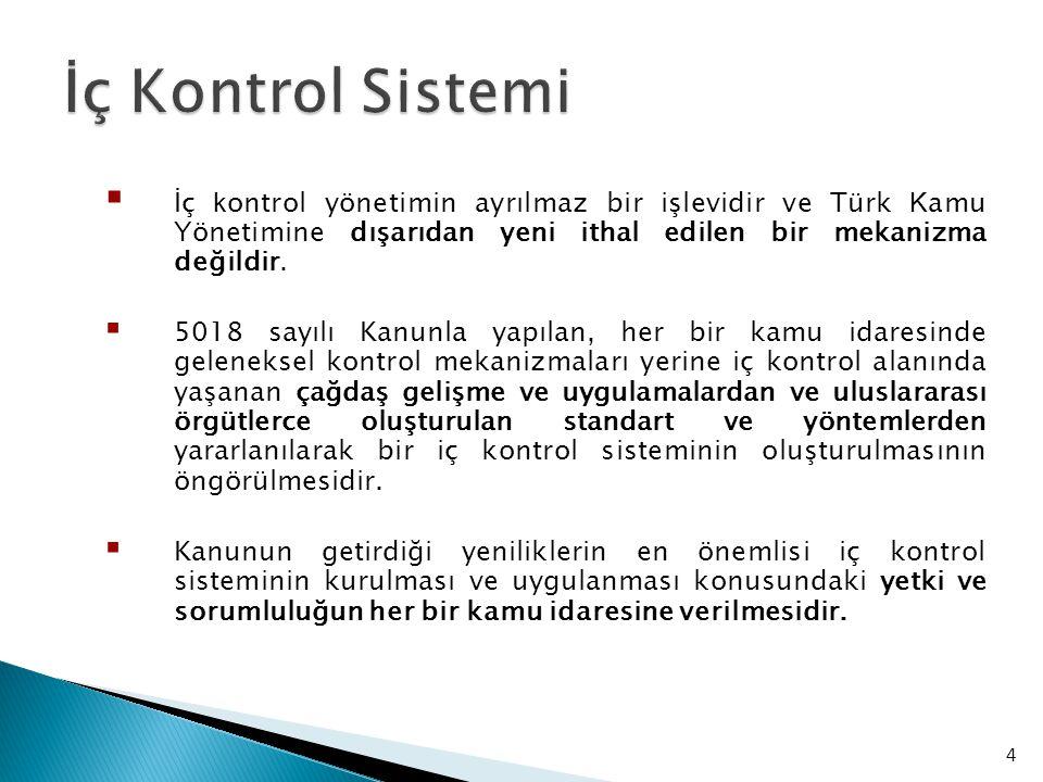  İç k ontrol yönetimin ayrılmaz bir işlevidir ve Türk K amu Y önetimine dışarıdan yeni ithal edilen bir mekanizma değildir.