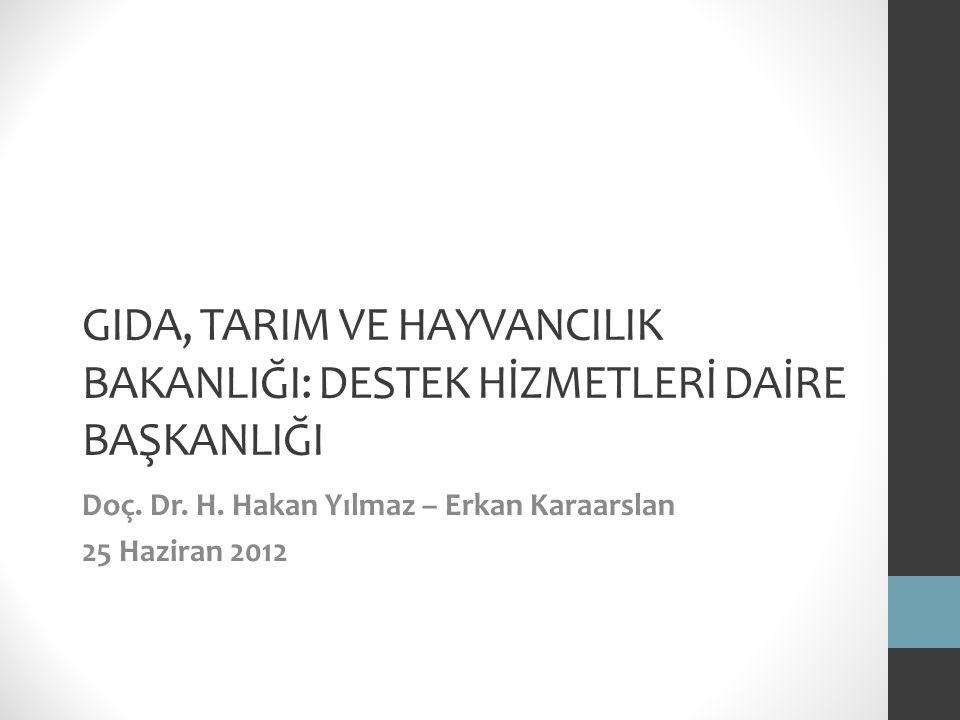 GIDA, TARIM VE HAYVANCILIK BAKANLIĞI: DESTEK HİZMETLERİ DAİRE BAŞKANLIĞI Doç. Dr. H. Hakan Yılmaz – Erkan Karaarslan 25 Haziran 2012
