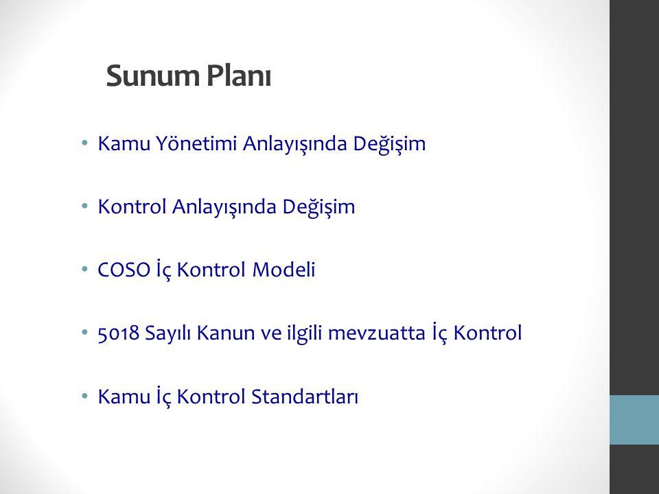Sunum Planı Kamu Yönetimi Anlayışında Değişim Kontrol Anlayışında Değişim COSO İç Kontrol Modeli 5018 Sayılı Kanun ve ilgili mevzuatta İç Kontrol Kamu