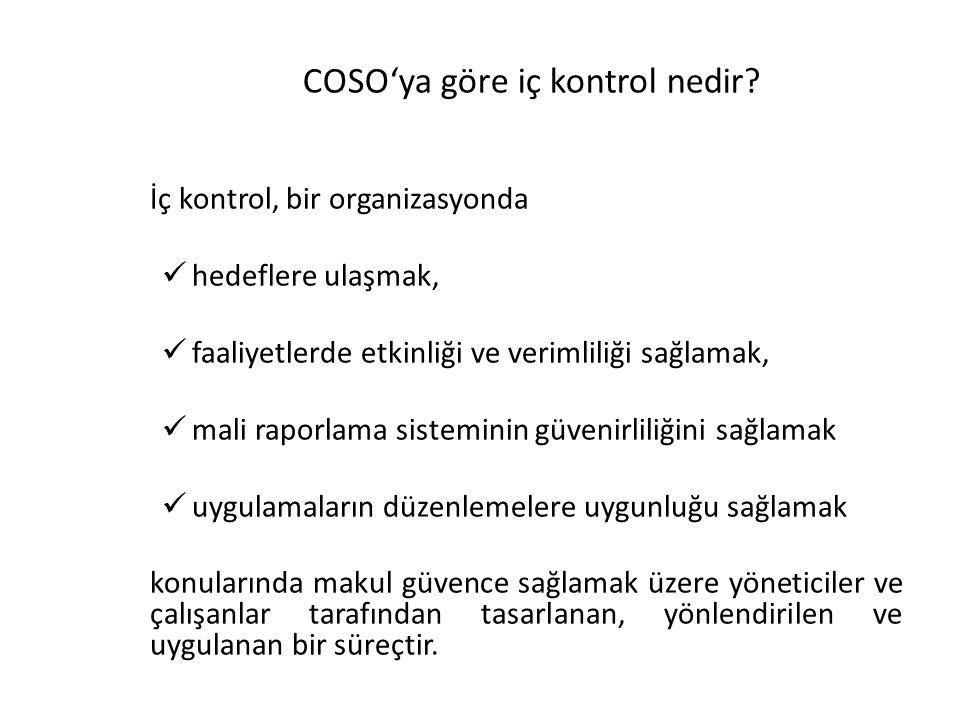 COSO'ya göre iç kontrol nedir? İç kontrol, bir organizasyonda hedeflere ulaşmak, faaliyetlerde etkinliği ve verimliliği sağlamak, mali raporlama siste