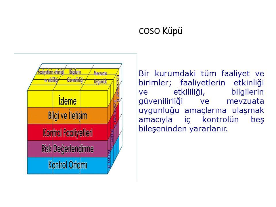 COSO Küpü Bir kurumdaki tüm faaliyet ve birimler; faaliyetlerin etkinliği ve etkililiği, bilgilerin güvenilirliği ve mevzuata uygunluğu amaçlarına ula