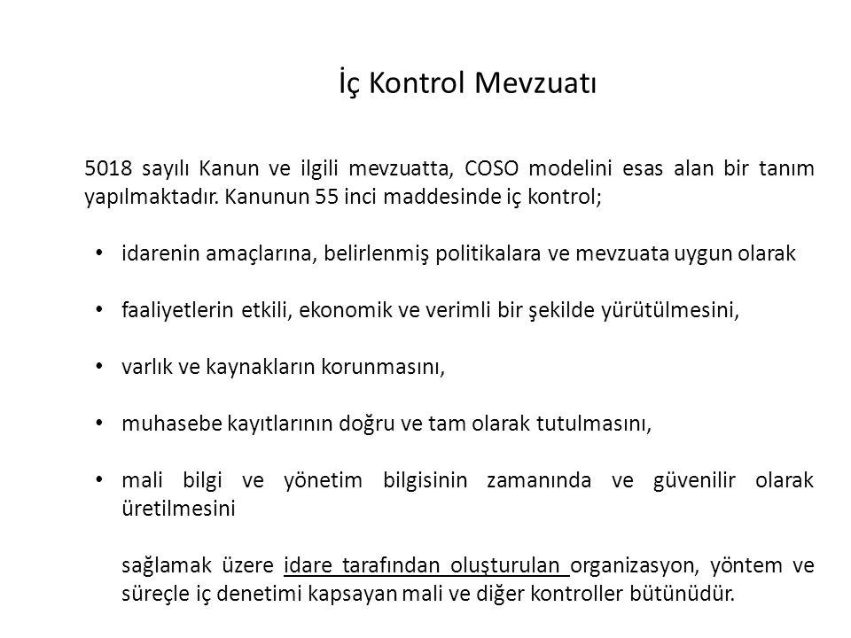 5018 sayılı Kanun ve ilgili mevzuatta, COSO modelini esas alan bir tanım yapılmaktadır. Kanunun 55 inci maddesinde iç kontrol; idarenin amaçlarına, be