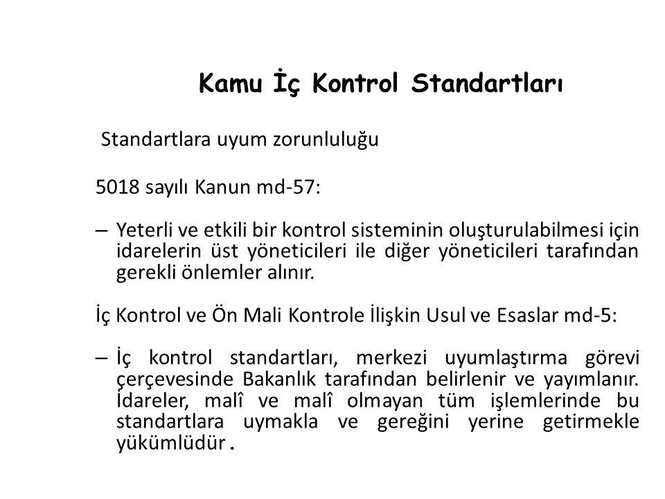 Kamu İç Kontrol Standartları Standartlara uyum zorunluluğu 5018 sayılı Kanun md-57: – Yeterli ve etkili bir kontrol sisteminin oluşturulabilmesi için