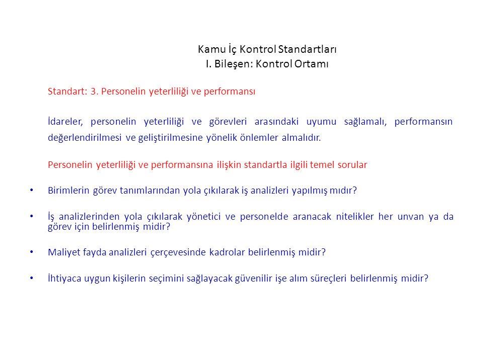 Kamu İç Kontrol Standartları I. Bileşen: Kontrol Ortamı Standart: 3. Personelin yeterliliği ve performansı İdareler, personelin yeterliliği ve görevle