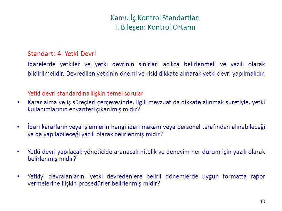 Kamu İç Kontrol Standartları I. Bileşen: Kontrol Ortamı Standart: 4. Yetki Devri İdarelerde yetkiler ve yetki devrinin sınırları açıkça belirlenmeli v