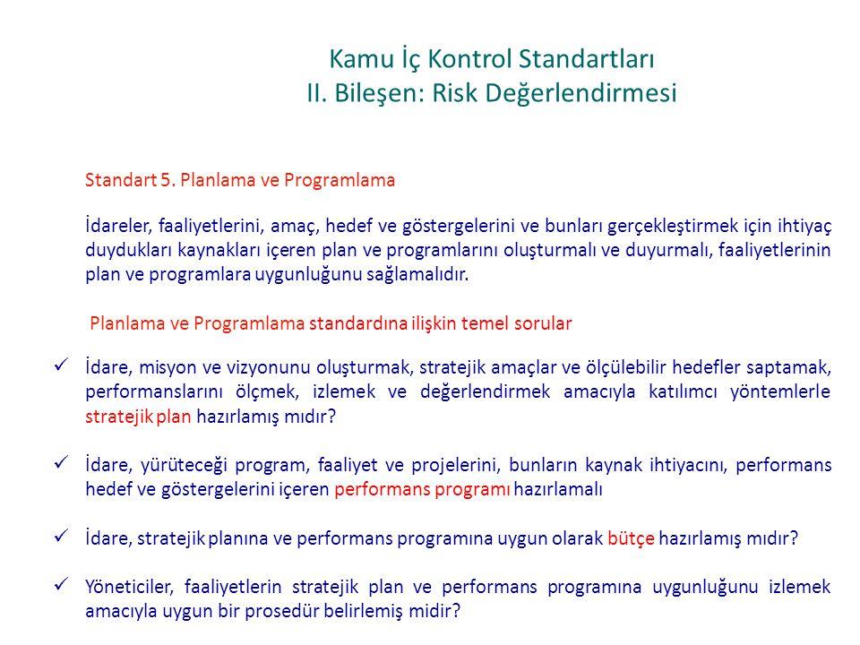 Kamu İç Kontrol Standartları II. Bileşen: Risk Değerlendirmesi Standart 5. Planlama ve Programlama İdareler, faaliyetlerini, amaç, hedef ve göstergele