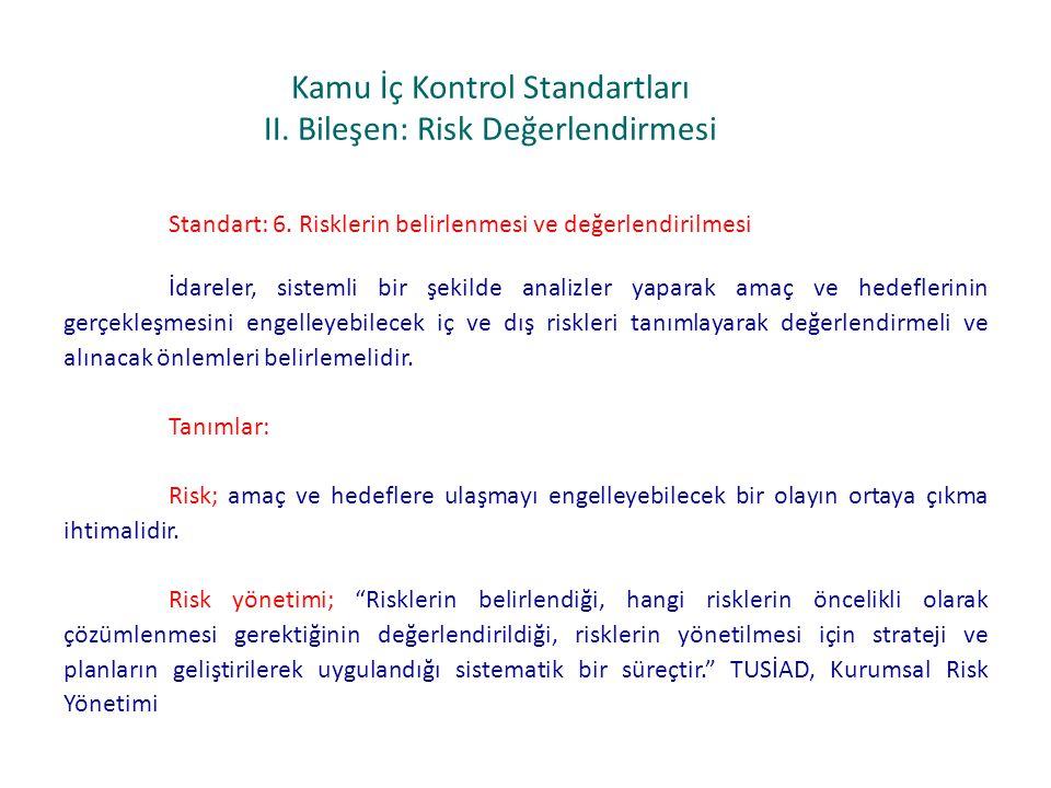 Kamu İç Kontrol Standartları II. Bileşen: Risk Değerlendirmesi Standart: 6. Risklerin belirlenmesi ve değerlendirilmesi İdareler, sistemli bir şekilde